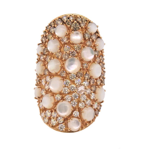 image of Pasquale Bruni Mandala Mother of Pearl Diamond Gold Ring