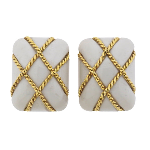 image of Seaman Schepps White Coral Gold Cage Earrings