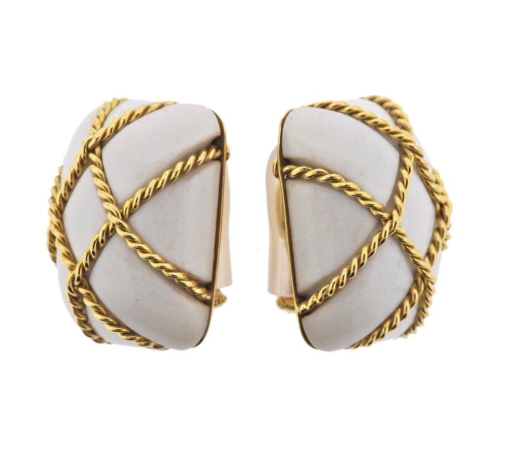thumbnail image of Seaman Schepps White Coral Gold Cage Earrings