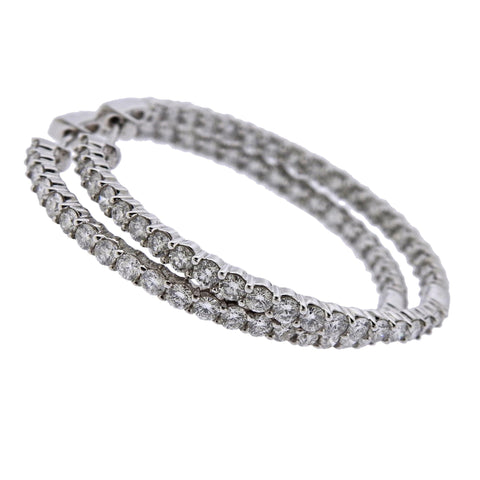 image of Gold 3.20ctw Inside Out Diamond Hoop Earrings