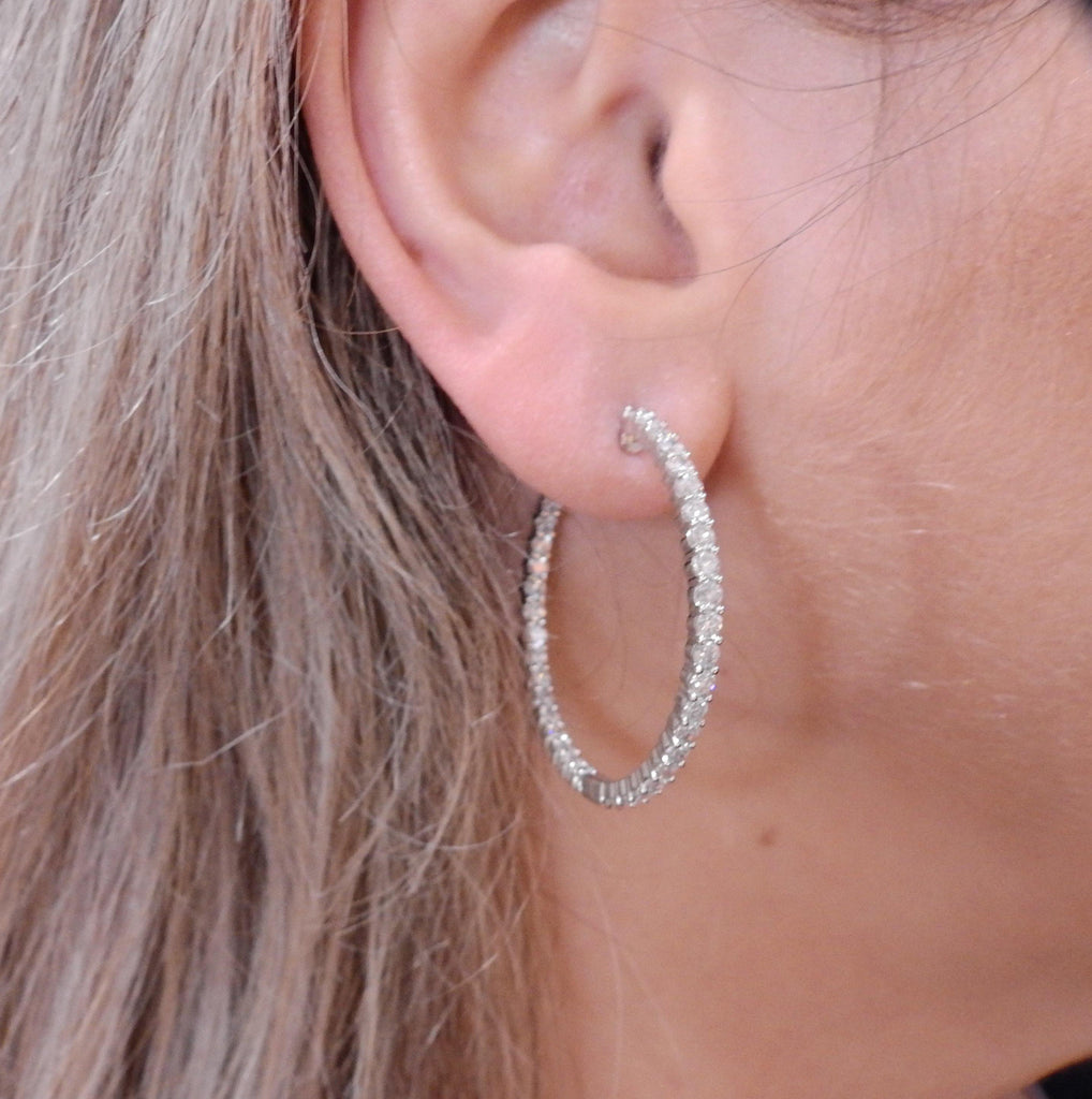 thumbnail image of Gold 3.20ctw Inside Out Diamond Hoop Earrings