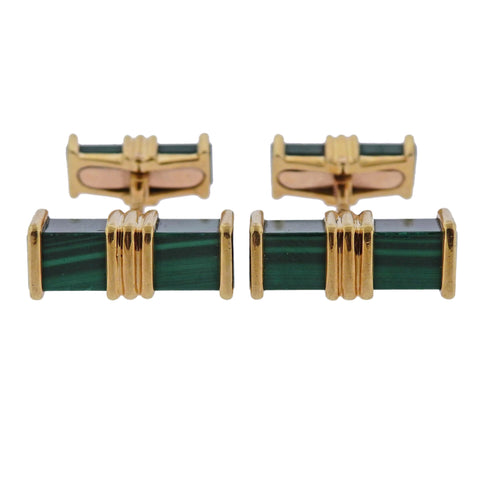 image of Chaumet Malachite Gold Cufflinks