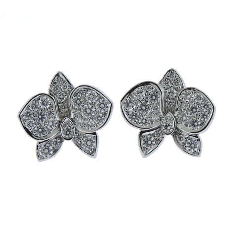 image of Cartier Caresse d'Orchidees Diamond Gold Earrings