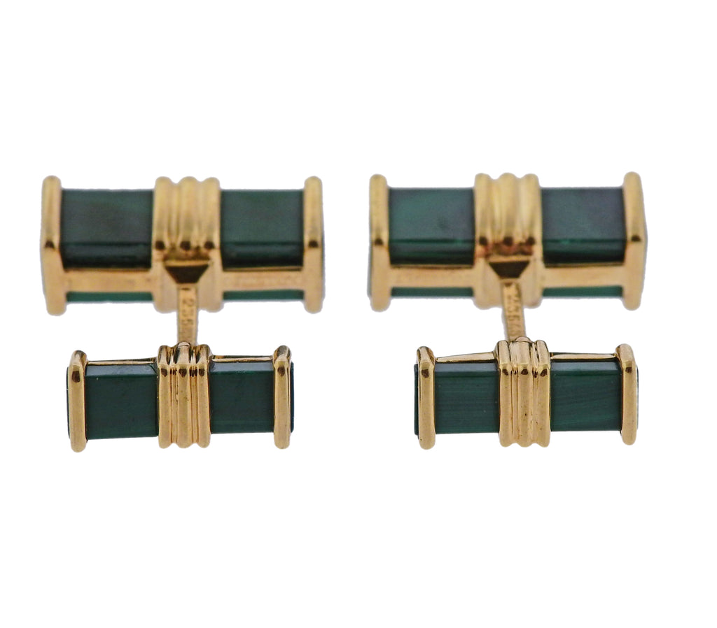 thumbnail image of Chaumet Malachite Gold Cufflinks