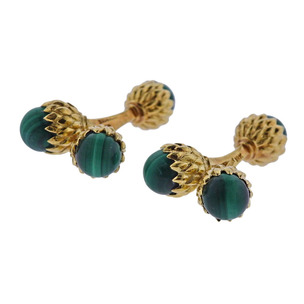 thumbnail image of Tiffany & Co Schlumberger Malachite Gold Acorn Cufflinks