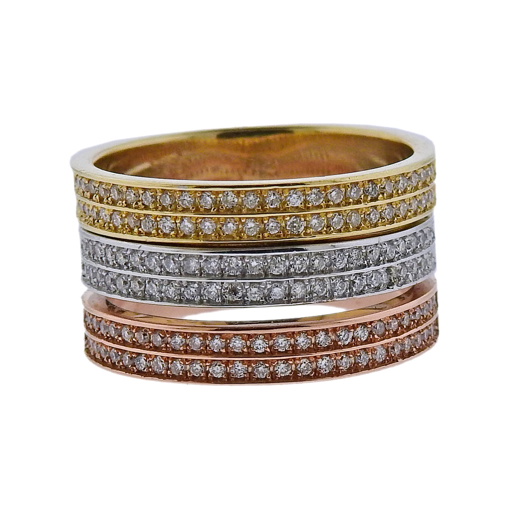 thumbnail image of Modern Tri Color Gold Diamond Band Ring