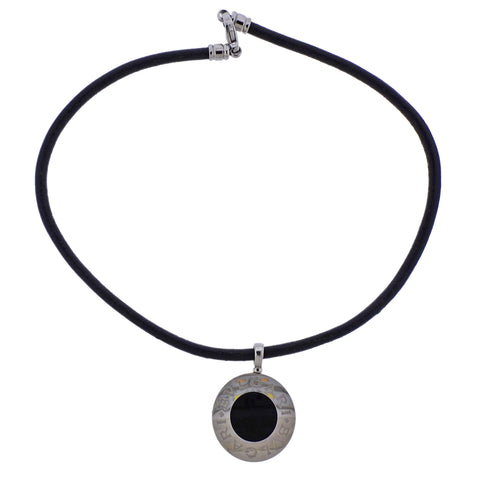 image of Bulgari Onyx Nephrite Gold Steel Pendant Cord Necklace