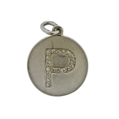 image of White Gold Diamond P Initial Letter Charm Pendant