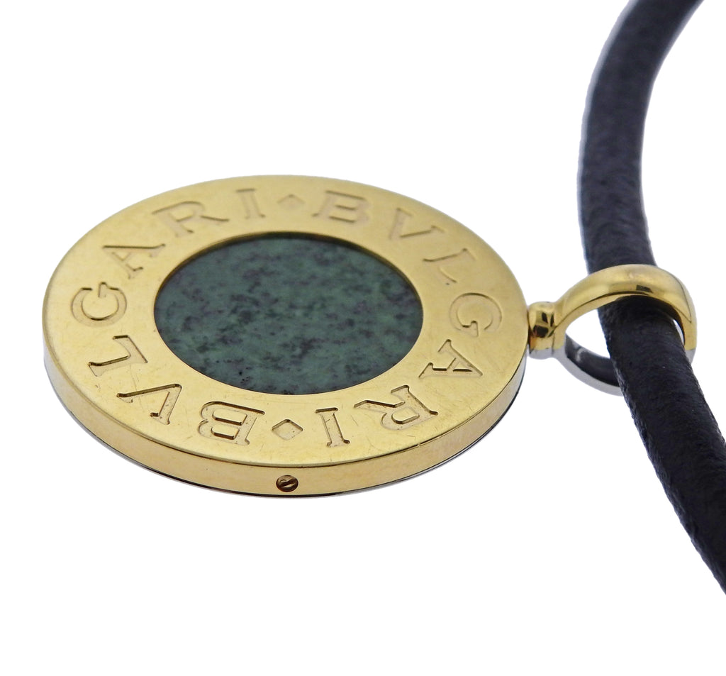 thumbnail image of Bulgari Onyx Nephrite Gold Steel Pendant Cord Necklace