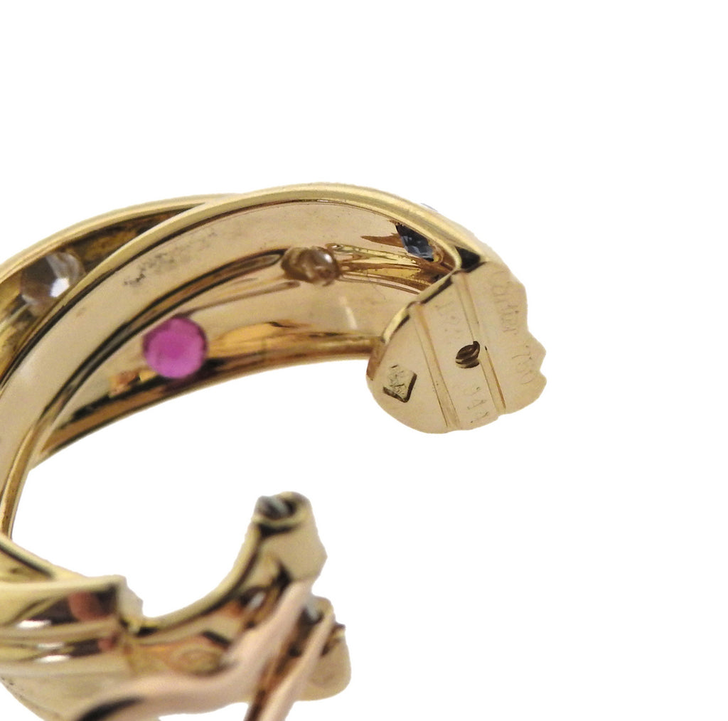thumbnail image of Cartier Trinity Ruby Sapphire Diamond Gold Hoop Earrings