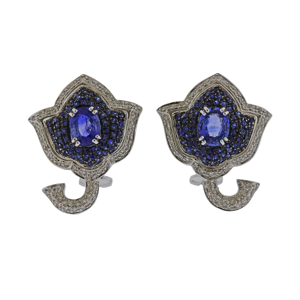 thumbnail image of Gold Diamond Sapphire Flower Earrings