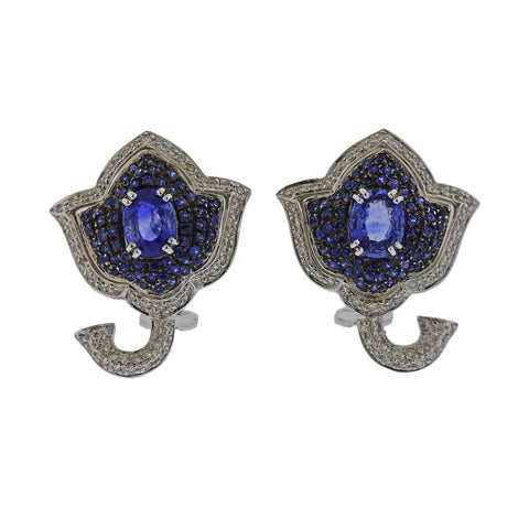 image of Gold Diamond Sapphire Flower Earrings