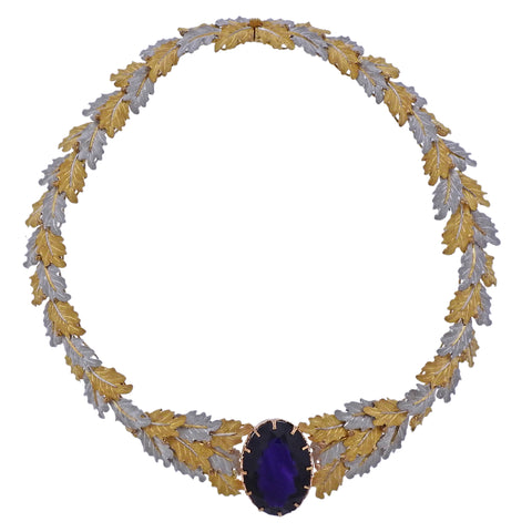image of Buccellati 32ct Amethyst Gold Leaf Motif Necklace