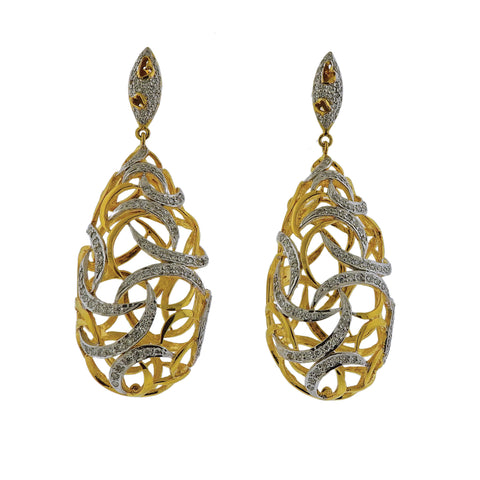 image of Gold Diamond Openwork Drop Earrings