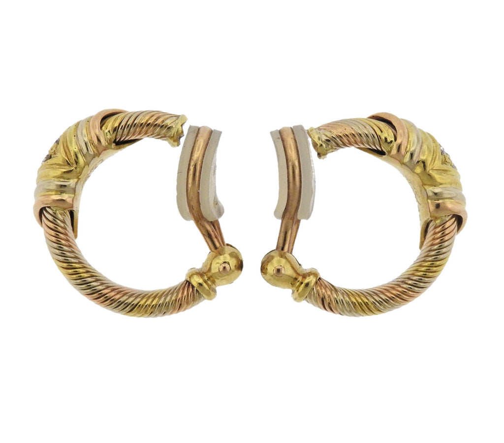thumbnail image of Cartier Diamond Gold Hoop Earrings