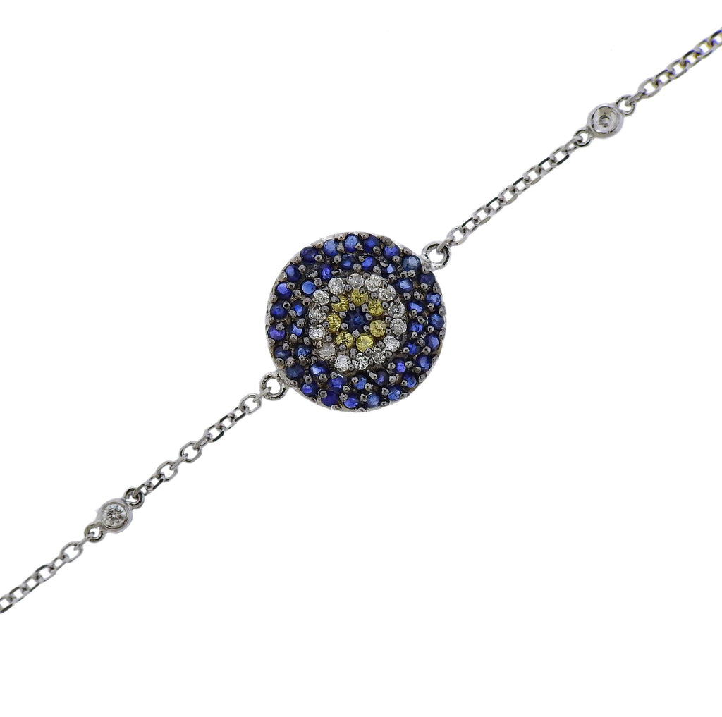 thumbnail image of Gold Diamond Blue Yellow Sapphire Evil Eye Bracelet