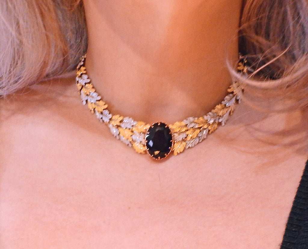 thumbnail image of Buccellati 32ct Amethyst Gold Leaf Motif Necklace