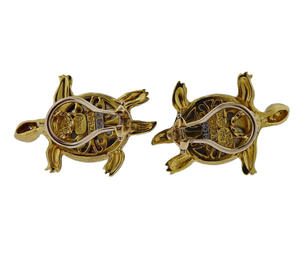 thumbnail image of Henry Dunay Grey Moonstone Diamond Gold Platinum Turtle Earrings