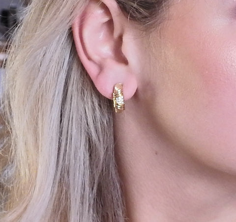 image of Cartier Diamond Gold Hoop Earrings
