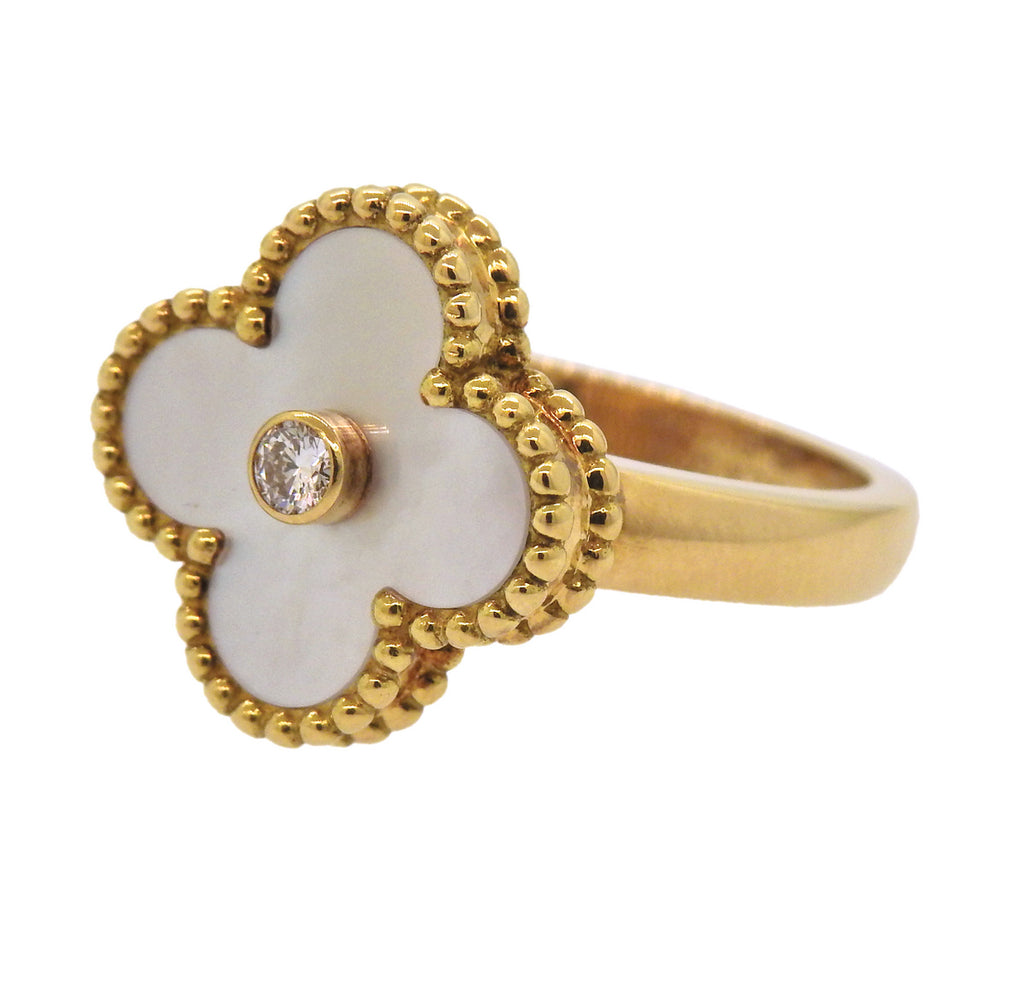 thumbnail image of Van Cleef & Arpels Vintage Alhambra Mother of Pearl Diamond Gold Ring