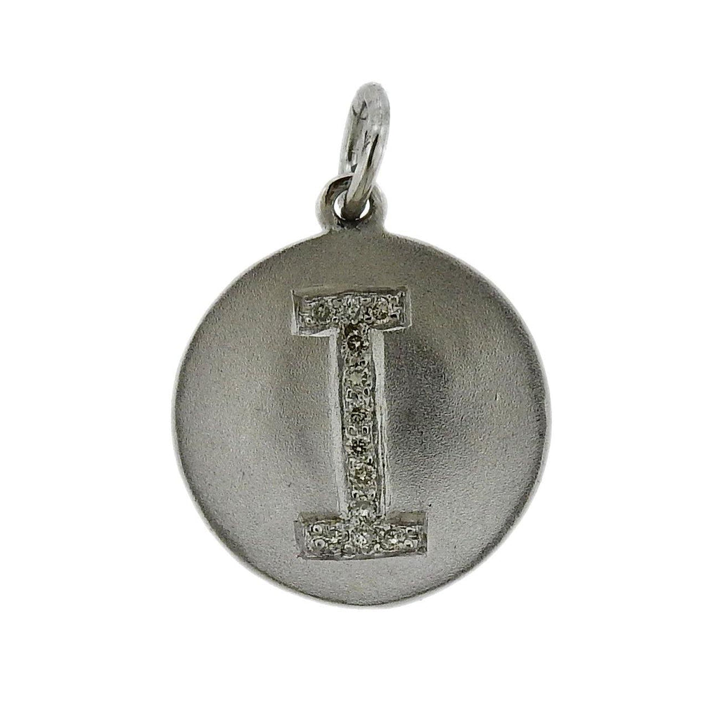 thumbnail image of White Gold Diamond Initial Letter I Charm Pendant