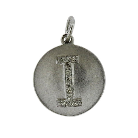 image of White Gold Diamond Initial Letter I Charm Pendant