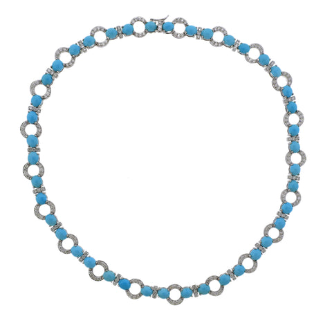 image of Gold 4.81 Carat Diamond Turquoise Necklace