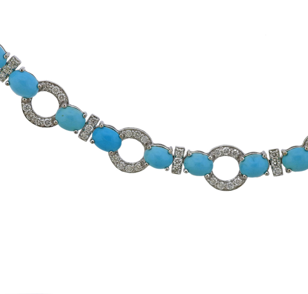 thumbnail image of Gold 4.81 Carat Diamond Turquoise Necklace