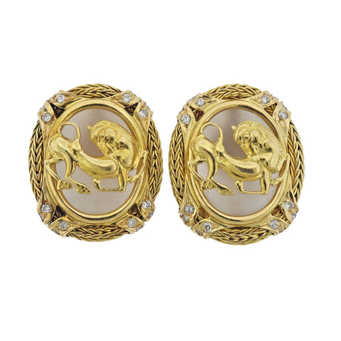 image of Lalaounis Greece Diamond Frosted Crystal Gold Earrings