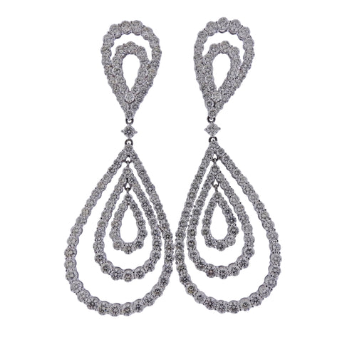 image of 19 Carat Diamond Drop Gold Earrings