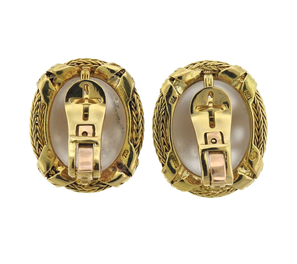 thumbnail image of Lalaounis Greece Diamond Frosted Crystal Gold Earrings
