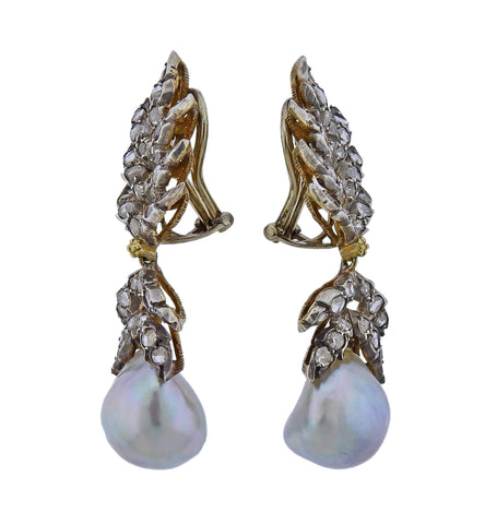 image of Buccellati Rose Cut Diamond Pearl Gold Silver Earrings