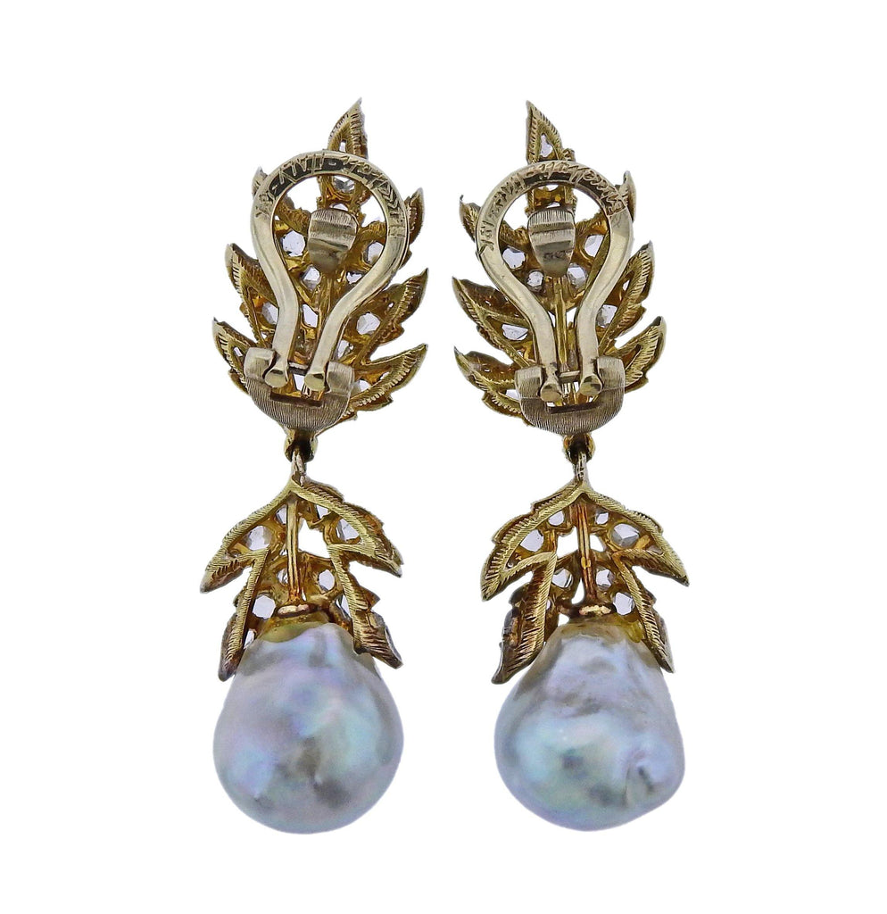 thumbnail image of Buccellati Rose Cut Diamond Pearl Gold Silver Earrings