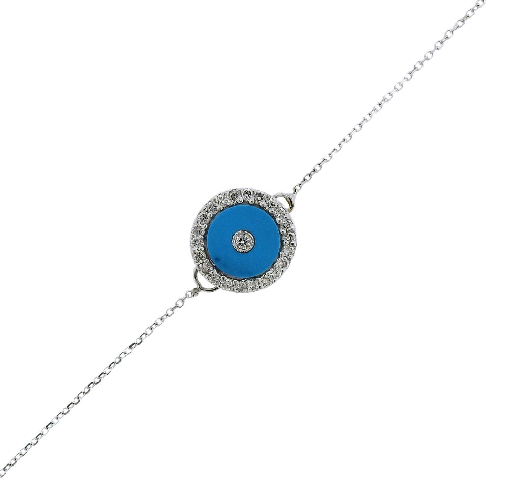 thumbnail image of Gold Diamond Turquoise Evil Eye Bracelet
