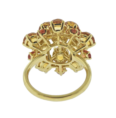 image of Ippolita Lollipop Citrine Orange Sapphire 18k Gold Cluster Ring