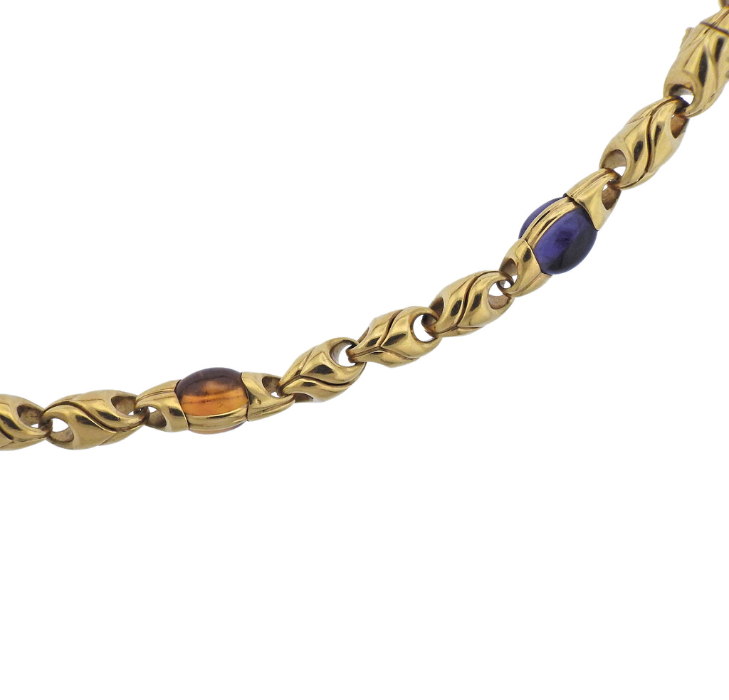 thumbnail image of Bulgari Amethyst Tourmaline Citrine Peridot Gold Necklace Bracelet Suite