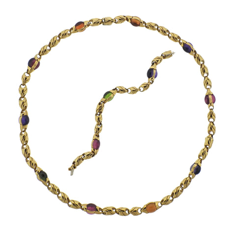 image of Bulgari Amethyst Tourmaline Citrine Peridot Gold Necklace Bracelet Suite