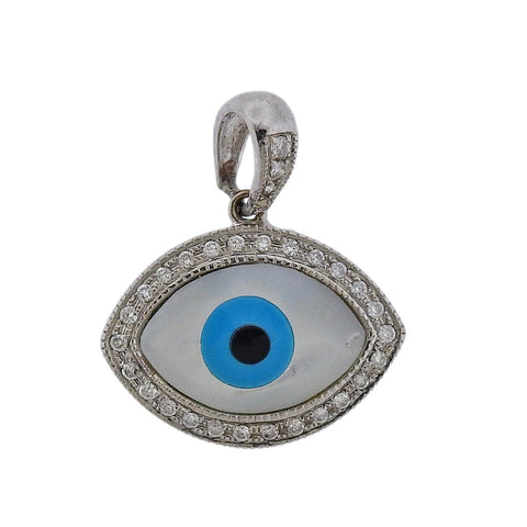 image of Gold Diamond Mother of Pearl Turquoise Onyx Evil Eye Pendant