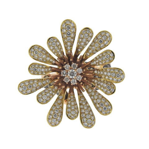image of Modern Diamond Gold Flower Cocktail Ring