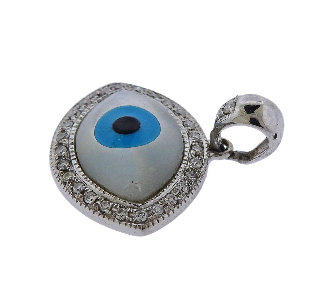 thumbnail image of Gold Diamond Mother of Pearl Turquoise Onyx Evil Eye Pendant
