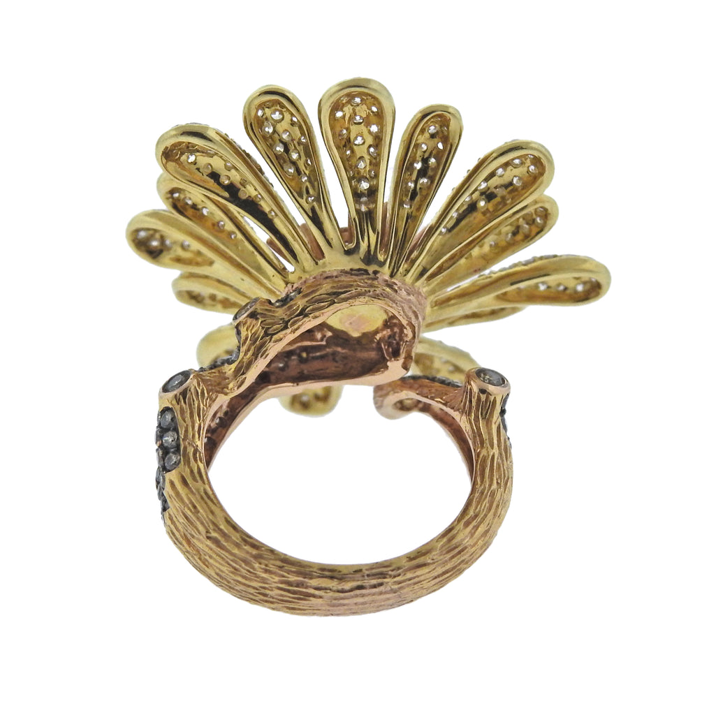 thumbnail image of Modern Diamond Gold Flower Cocktail Ring
