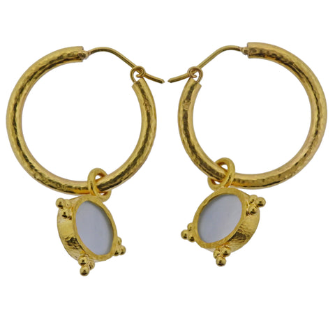 image of Elizabeth Locke Venetian Glass Intaglio Mother of Pearl Gold Hoop Earrings