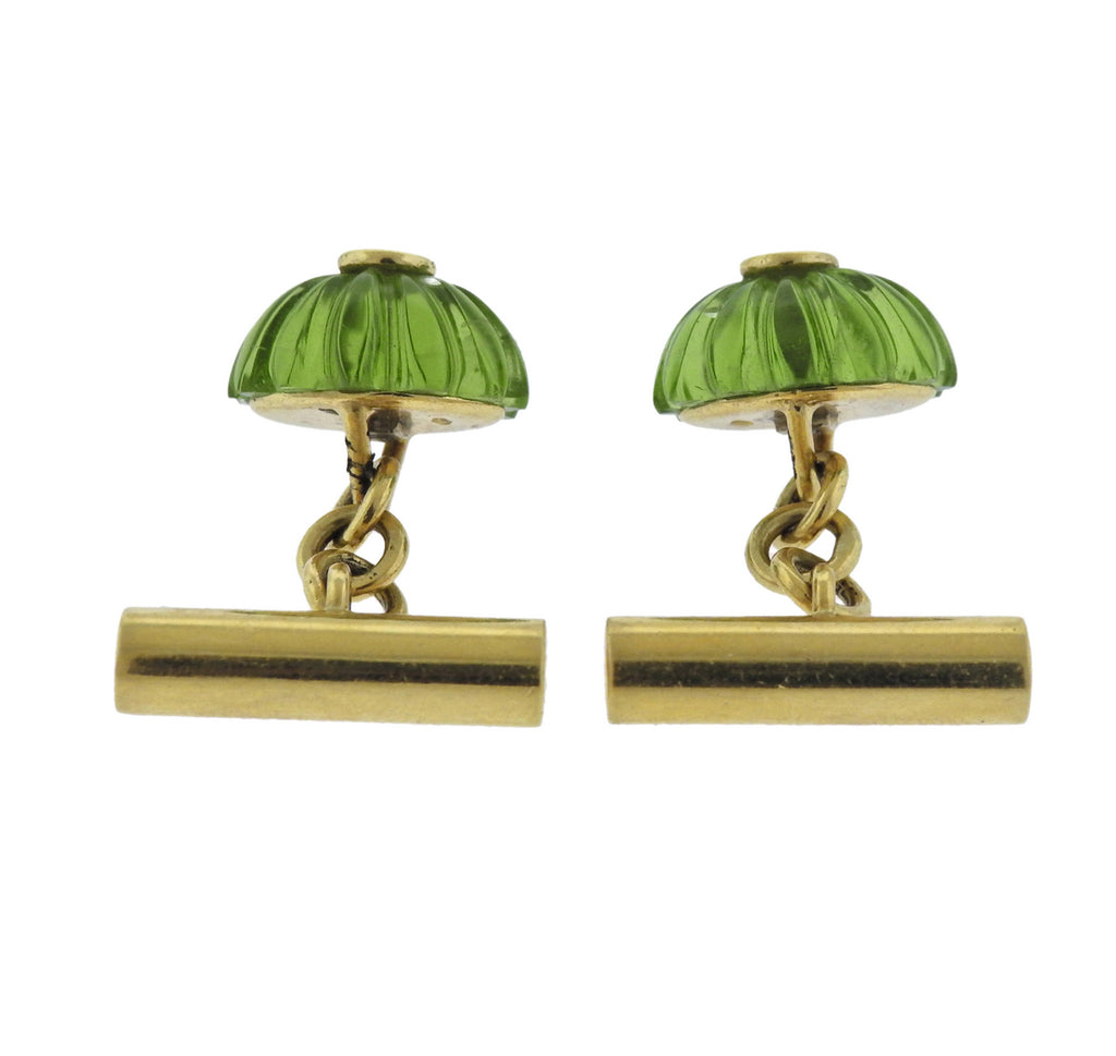 thumbnail image of Carved Peridot Diamond Gold Cufflinks