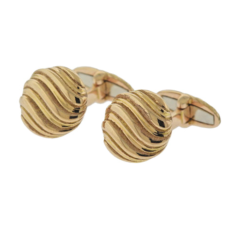image of Buccellati Rose Gold Wave Motif Cufflinks
