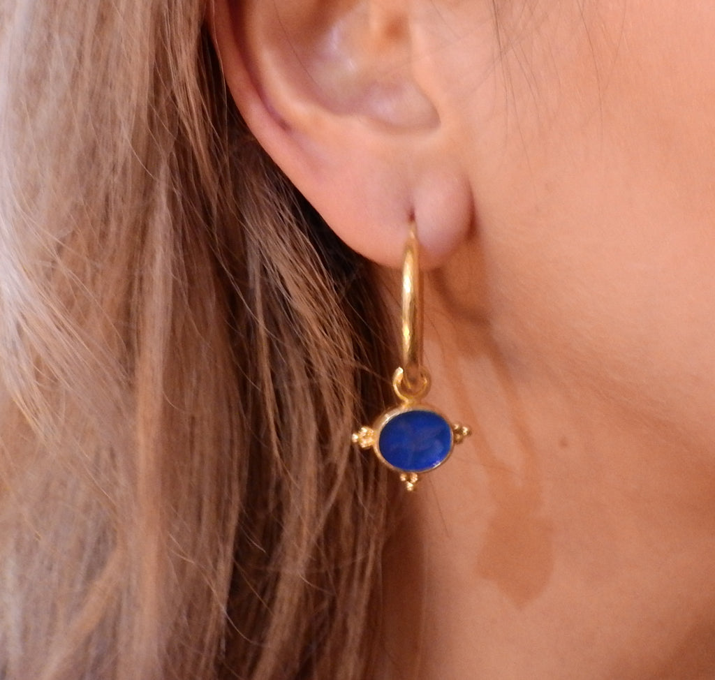 thumbnail image of Elizabeth Locke Venetian Glass Intaglio Mother of Pearl Gold Hoop Earrings