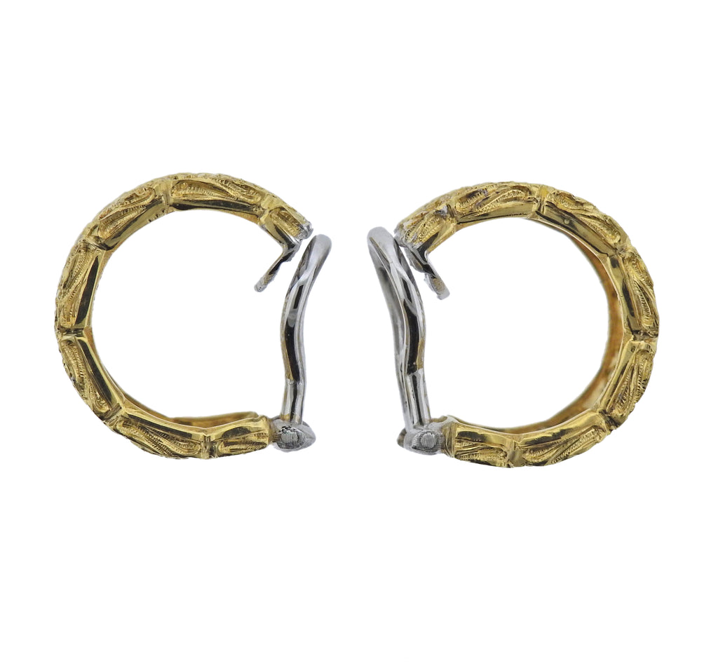 thumbnail image of Buccellati Yellow Gold Rose Hoop Earrings