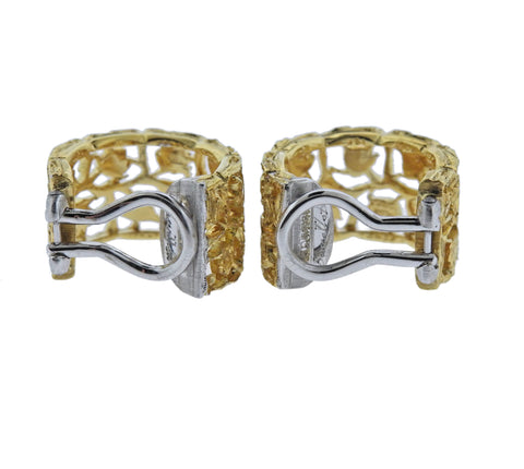 image of Buccellati Yellow Gold Rose Hoop Earrings