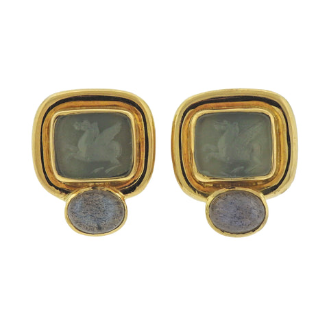 image of Elizabeth Locke Labradorite Venetian Glass Intaglio Gold Earrings