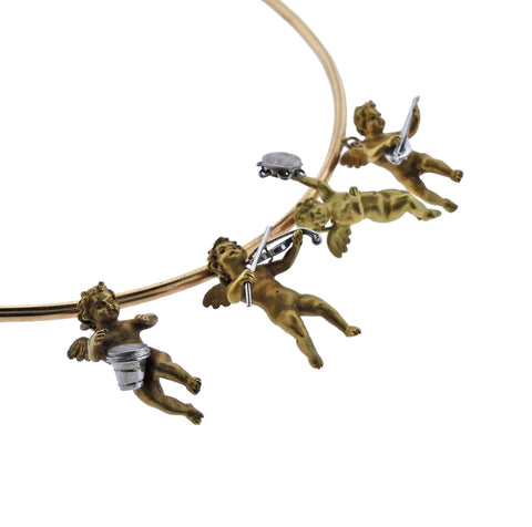 image of Cherub Charm Gold Necklace