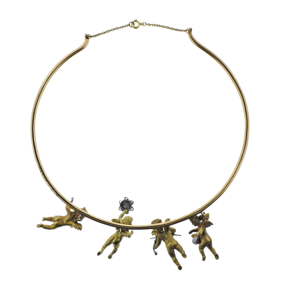 thumbnail image of Cherub Charm Gold Necklace